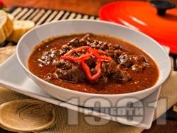 Оригинален унгарски гулаш с говеждо или телешко месо - снимка на рецептата